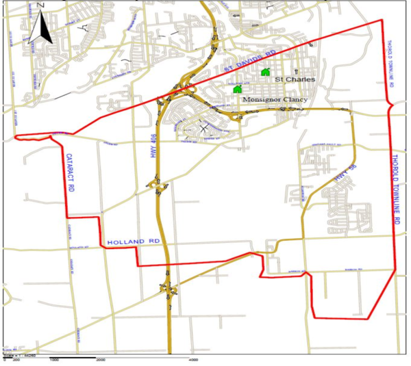 Monsignor Clancy and St Charles boundary map