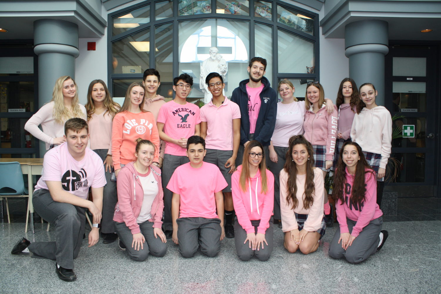 Students celebrating Pink Shirt Day